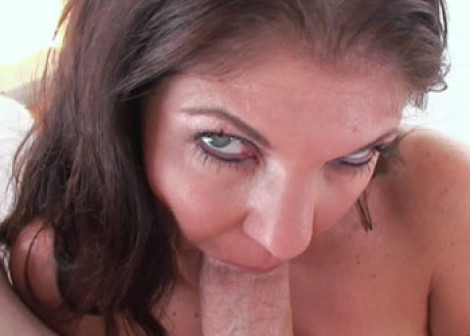 Petite MILF Coralyn swallows the cum